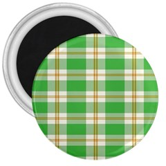 Abstract Green Plaid 3  Magnets by BangZart