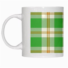 Abstract Green Plaid White Mugs by BangZart