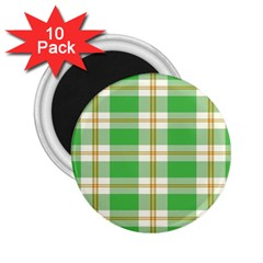 Abstract Green Plaid 2 25  Magnets (10 Pack)  by BangZart
