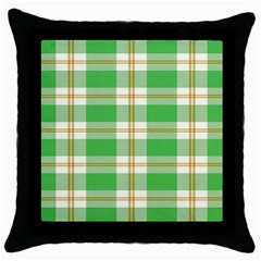 Abstract Green Plaid Throw Pillow Case (black) by BangZart