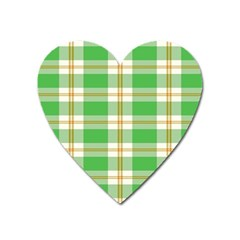 Abstract Green Plaid Heart Magnet by BangZart