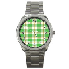 Abstract Green Plaid Sport Metal Watch by BangZart