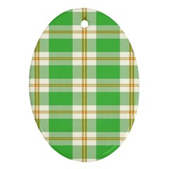 Abstract Green Plaid Oval Ornament (two Sides) by BangZart