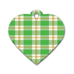 Abstract Green Plaid Dog Tag Heart (two Sides) by BangZart
