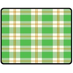 Abstract Green Plaid Fleece Blanket (medium)  by BangZart