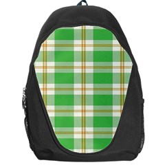 Abstract Green Plaid Backpack Bag by BangZart