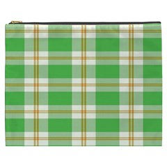 Abstract Green Plaid Cosmetic Bag (xxxl)  by BangZart