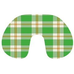 Abstract Green Plaid Travel Neck Pillows by BangZart
