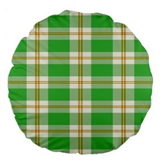 Abstract Green Plaid Large 18  Premium Flano Round Cushions by BangZart