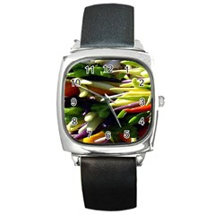 Bright Peppers Square Metal Watch by BangZart