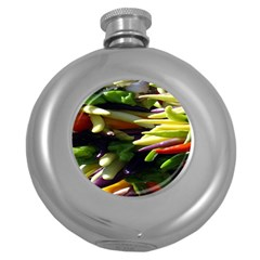 Bright Peppers Round Hip Flask (5 Oz) by BangZart