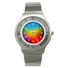 Blurred Color Pixels Stainless Steel Watch by BangZart