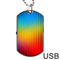 Blurred Color Pixels Dog Tag Usb Flash (two Sides) by BangZart