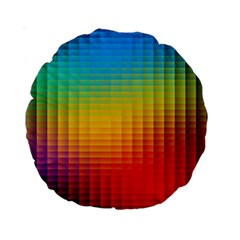 Blurred Color Pixels Standard 15  Premium Round Cushions by BangZart