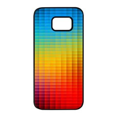 Blurred Color Pixels Samsung Galaxy S7 Edge Black Seamless Case by BangZart