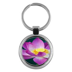 Pink Lotus Flower Key Chains (round)  by BangZart