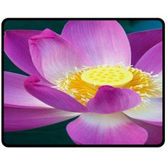 Pink Lotus Flower Double Sided Fleece Blanket (medium)  by BangZart