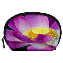 Pink Lotus Flower Accessory Pouches (large)  by BangZart
