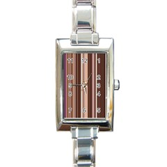 Brown Vertical Stripes Rectangle Italian Charm Watch by BangZart
