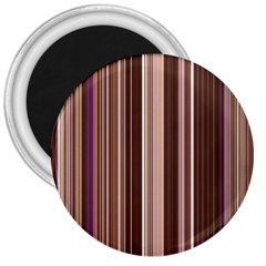 Brown Vertical Stripes 3  Magnets by BangZart