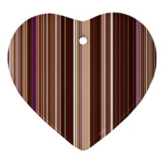 Brown Vertical Stripes Heart Ornament (two Sides) by BangZart