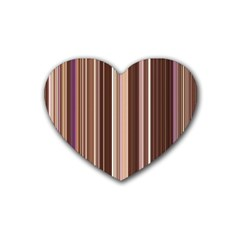 Brown Vertical Stripes Heart Coaster (4 Pack)  by BangZart