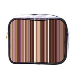 Brown Vertical Stripes Mini Toiletries Bags by BangZart