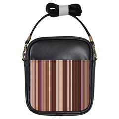 Brown Vertical Stripes Girls Sling Bags by BangZart