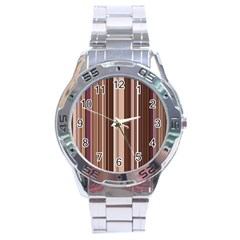 Brown Vertical Stripes Stainless Steel Analogue Watch by BangZart