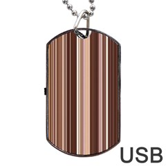 Brown Vertical Stripes Dog Tag Usb Flash (two Sides)