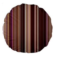 Brown Vertical Stripes Large 18  Premium Round Cushions by BangZart