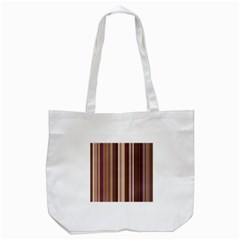 Brown Vertical Stripes Tote Bag (white) by BangZart