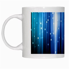 Blue Abstract Vectical Lines White Mugs by BangZart
