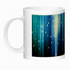 Blue Abstract Vectical Lines Night Luminous Mugs
