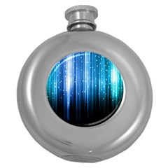 Blue Abstract Vectical Lines Round Hip Flask (5 Oz) by BangZart