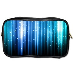 Blue Abstract Vectical Lines Toiletries Bags