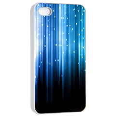 Blue Abstract Vectical Lines Apple Iphone 4/4s Seamless Case (white)