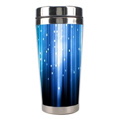 Blue Abstract Vectical Lines Stainless Steel Travel Tumblers by BangZart