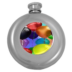 Colorful Balloons Render Round Hip Flask (5 Oz) by BangZart