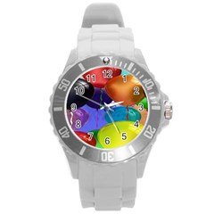 Colorful Balloons Render Round Plastic Sport Watch (l) by BangZart
