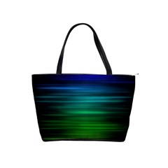 Blue And Green Lines Shoulder Handbags by BangZart