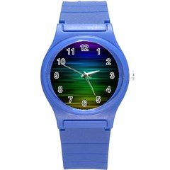 Blue And Green Lines Round Plastic Sport Watch (s) by BangZart
