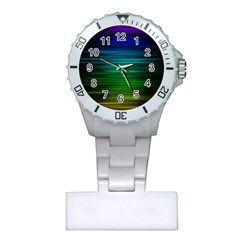 Blue And Green Lines Plastic Nurses Watch