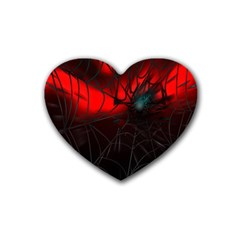 Spider Webs Rubber Coaster (heart)  by BangZart