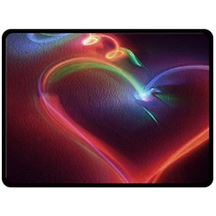 Neon Heart Double Sided Fleece Blanket (large)  by BangZart