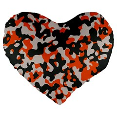 Camouflage Texture Patterns Large 19  Premium Flano Heart Shape Cushions by BangZart