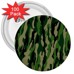Green Military Vector Pattern Texture 3  Buttons (100 Pack)  by BangZart