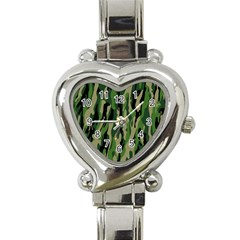 Green Military Vector Pattern Texture Heart Italian Charm Watch by BangZart