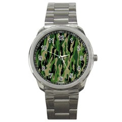 Green Military Vector Pattern Texture Sport Metal Watch by BangZart