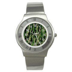 Green Military Vector Pattern Texture Stainless Steel Watch by BangZart